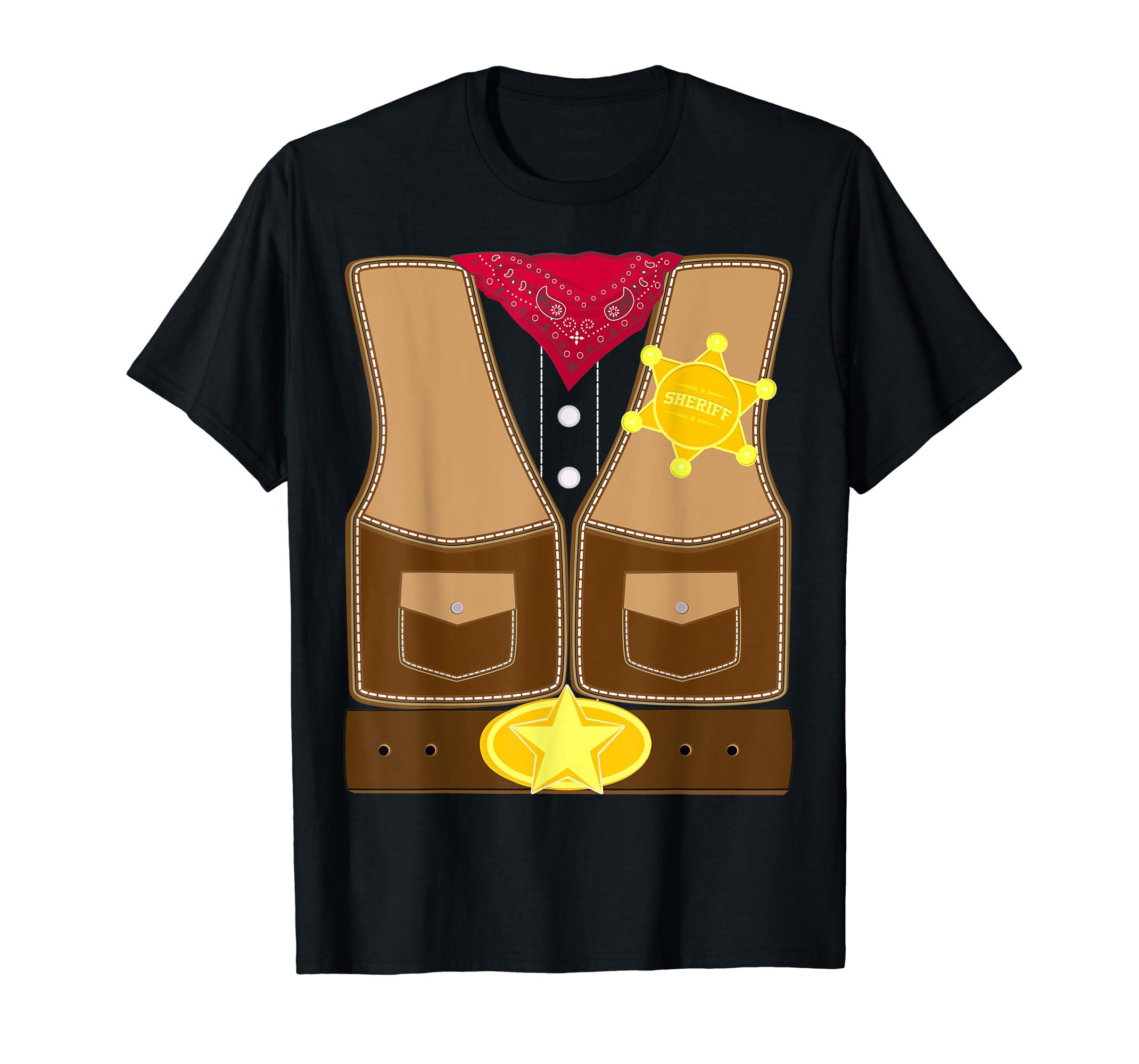Easy Sheriff Cowboy Costume Cute Matching T-Shirt for Men-Men's T-Shirt-Black
