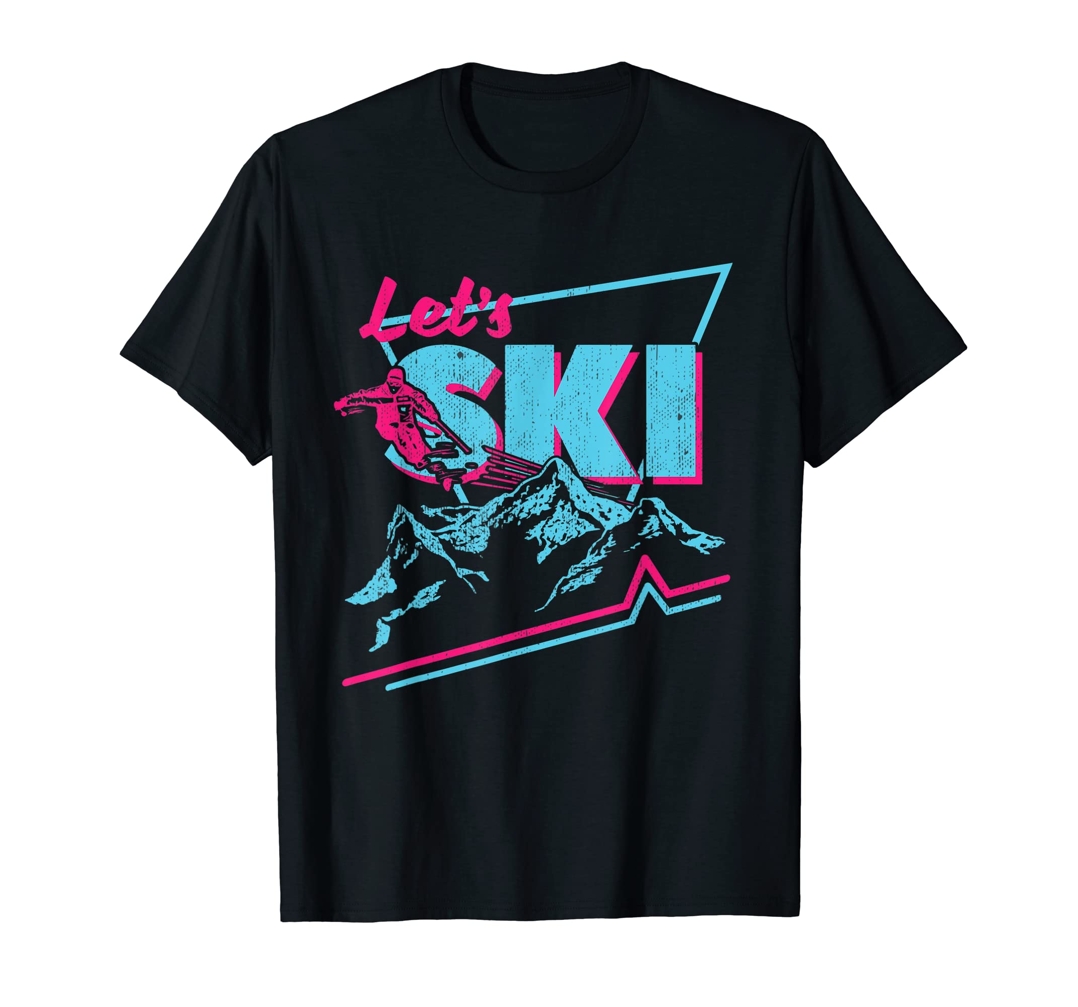 Retro 80s Let's Ski Neon T-shirt for Men or Women