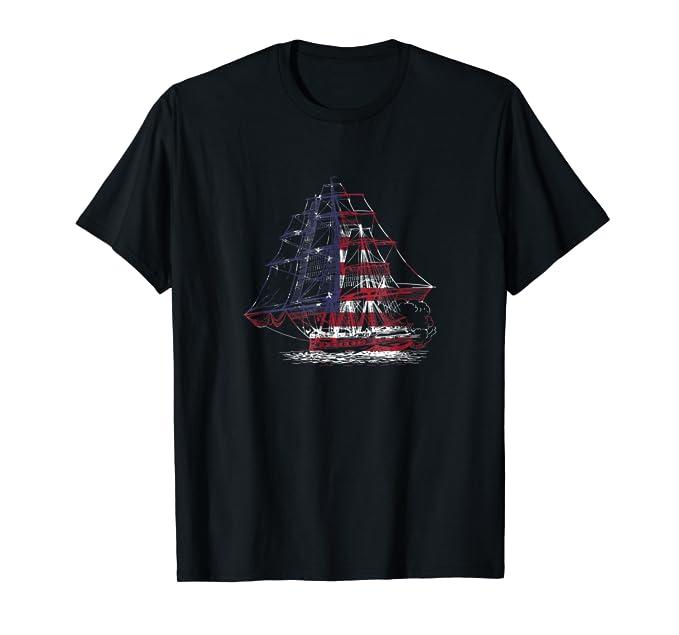 USA American Flag classic Sailing Ship graphic Tee Shirt