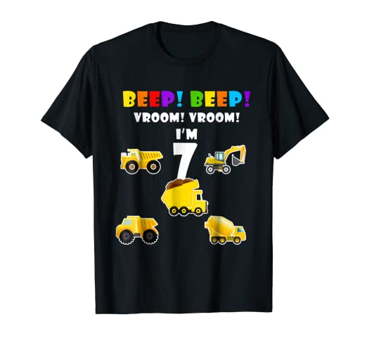 Trucks Diggers 7nd Birthday Shirts For 7 Year Toddlers