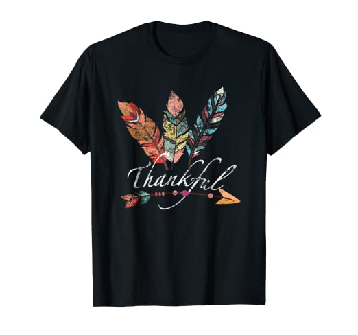 e4d8cebd9ad Image Unavailable. Image not available for. Color  Thankful Feather   Arrow  Fall T-Shirt - Vintage Thanksgiving