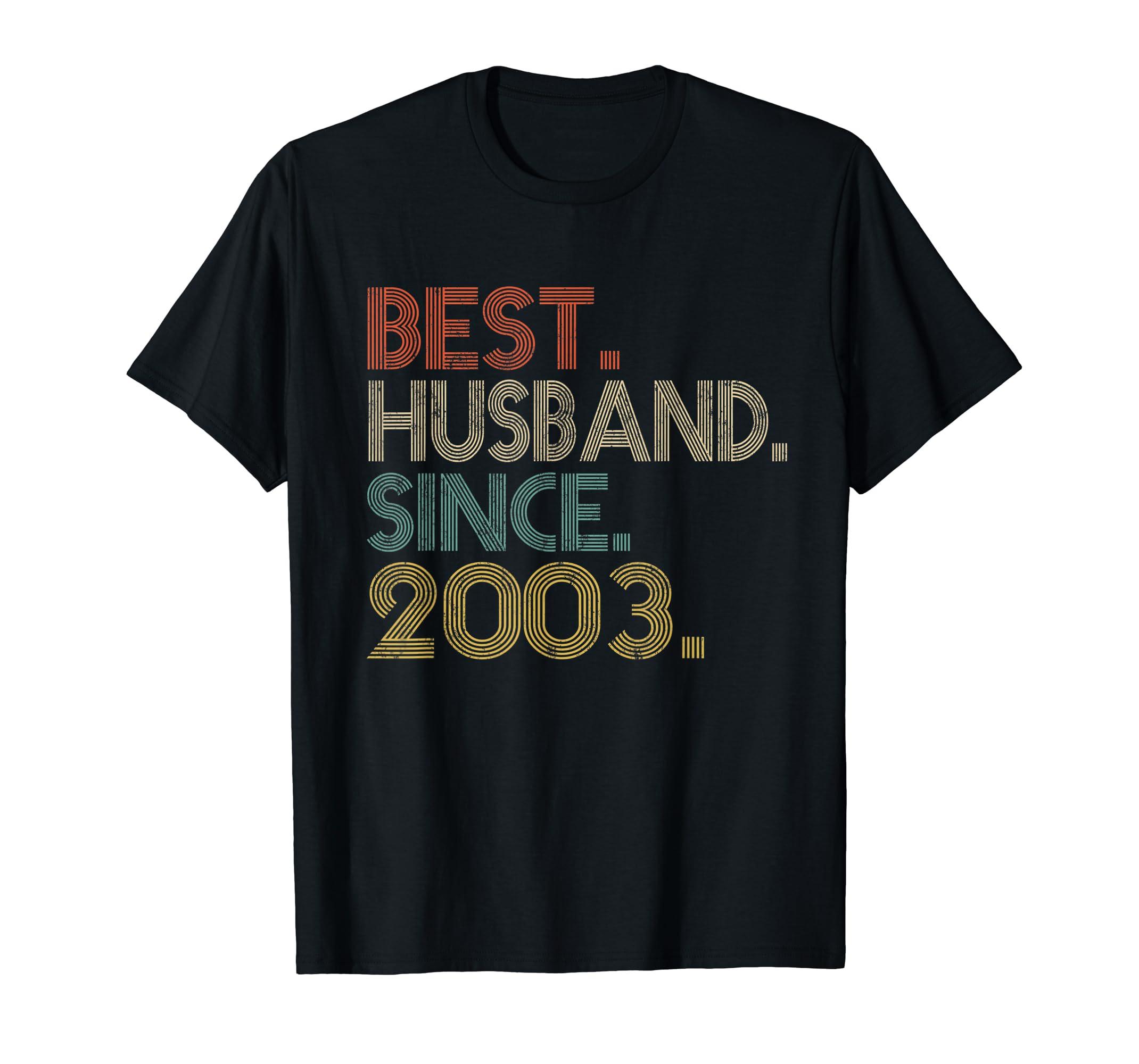 Mens 16th Wedding Anniversary Gifts Best Husband Since 2003-Men's T-Shirt-Black