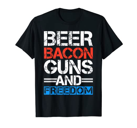 d4b456ccf5 Image Unavailable. Image not available for. Color: Beer Bacon Guns And Freedom  Shirt 4th Of July Shirts Men