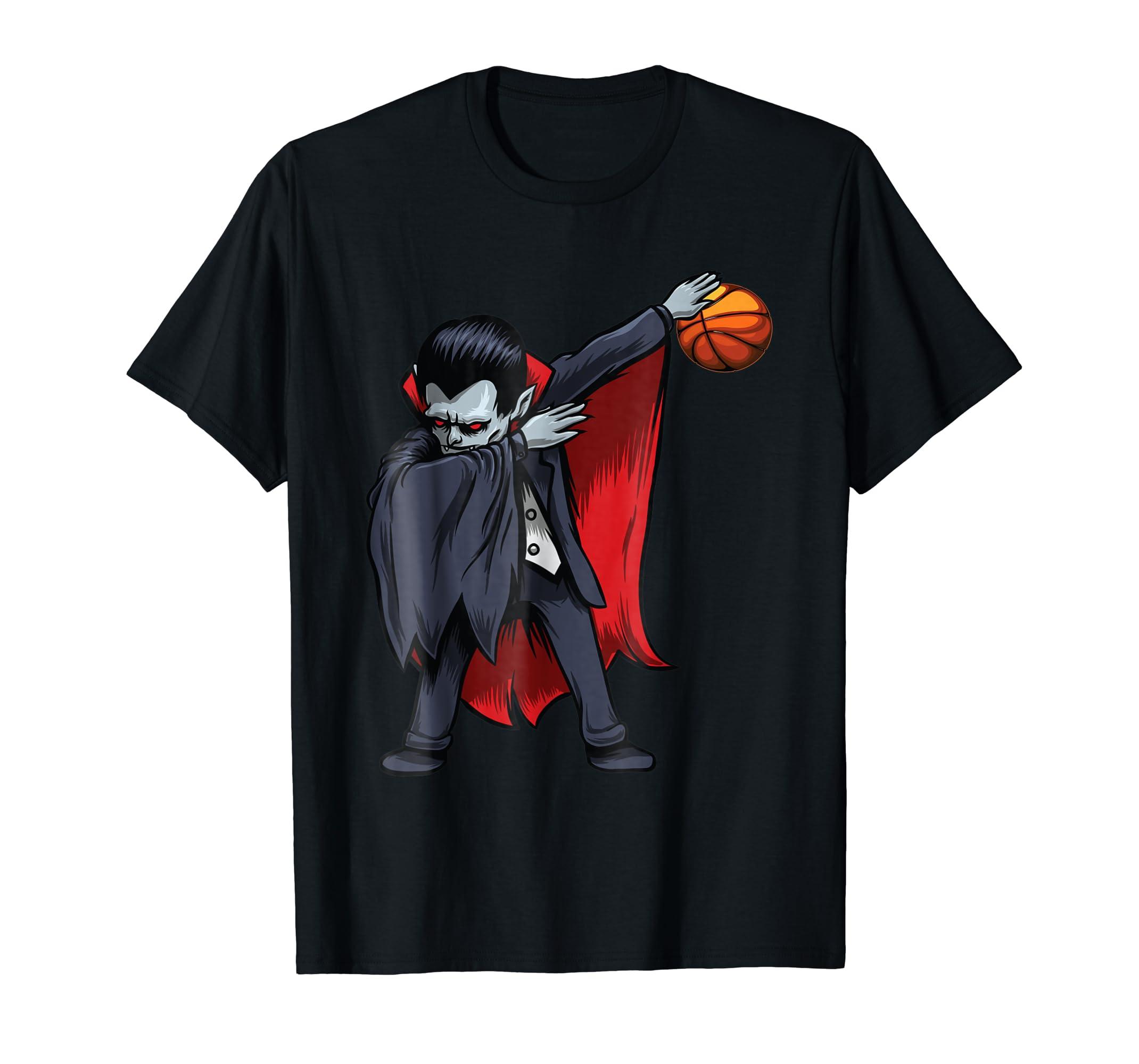 109b4902 Amazon.com: Dabbing Dracula Basketball T-Shirt Funny Halloween Dab Kids:  Clothing