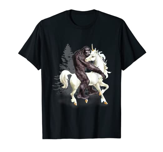 d5586b98 Image Unavailable. Image not available for. Color: Bigfoot Sasquatch Riding  Unicorn Funny T-Shirt ...