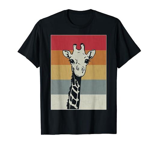 03e52d8b Amazon.com: Retro Giraffe Shirt - Funny Cute Vintage Animal Tee Gift ...