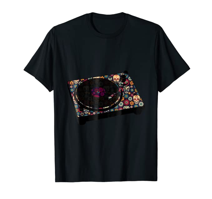 Skull and Flowers DJ Turntable TEE Shirt for music lovers