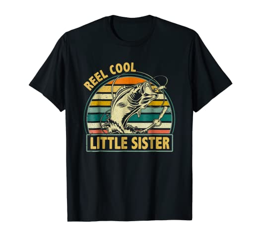 3db6e6c17 Image Unavailable. Image not available for. Color: Retro Vintage Reel Cool  Little Sister T-Shirt For Father Day