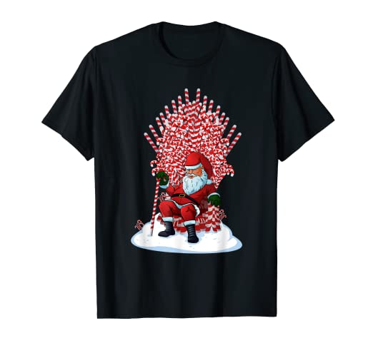 f68e98b8 Image Unavailable. Image not available for. Color: Santa On Candy Cane  Throne Funny Christmas T-Shirt