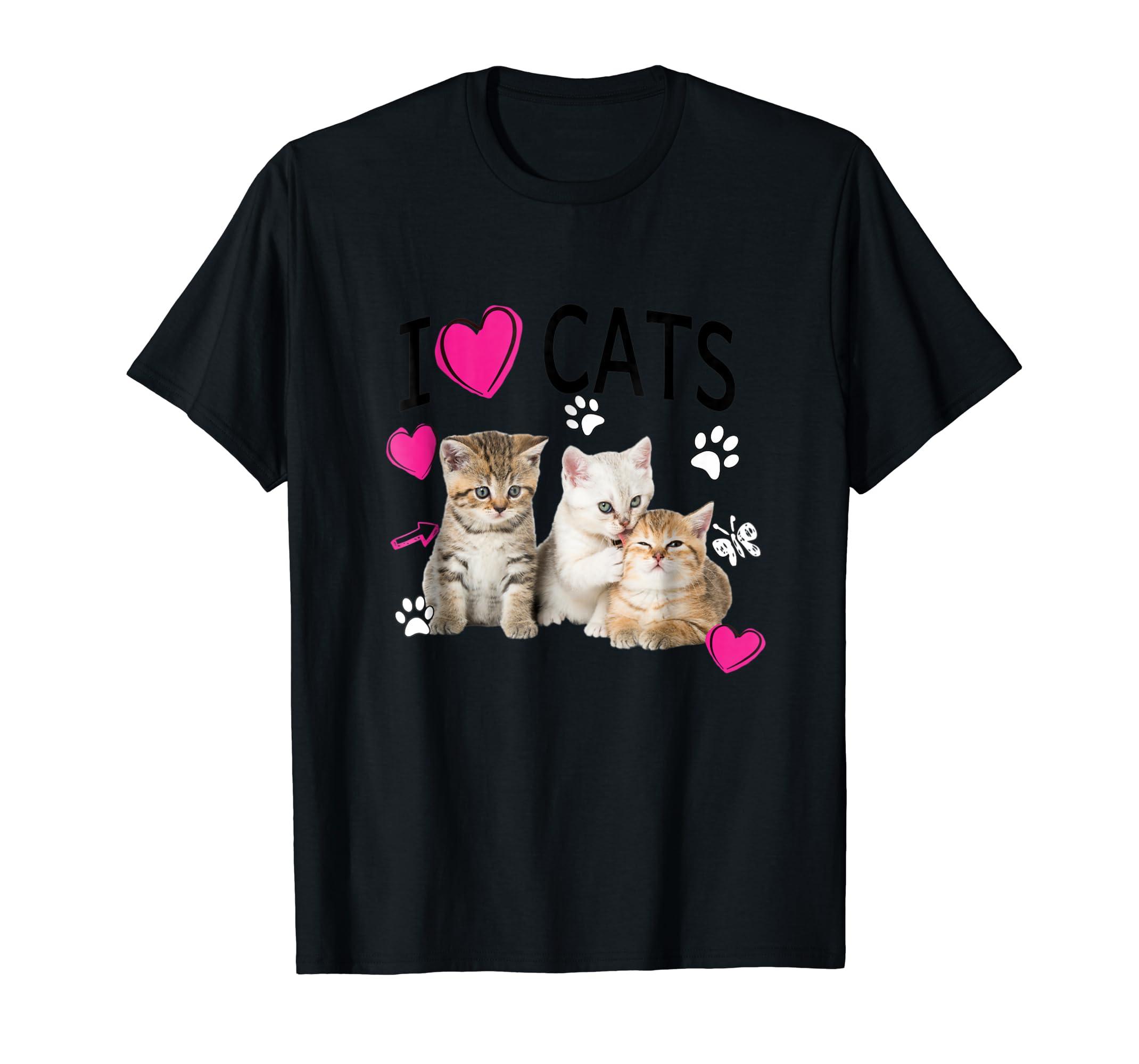 I Love Cats Shirt | Cat lover Tee - I love Kittens T-shirt-Men's T-Shirt-Black