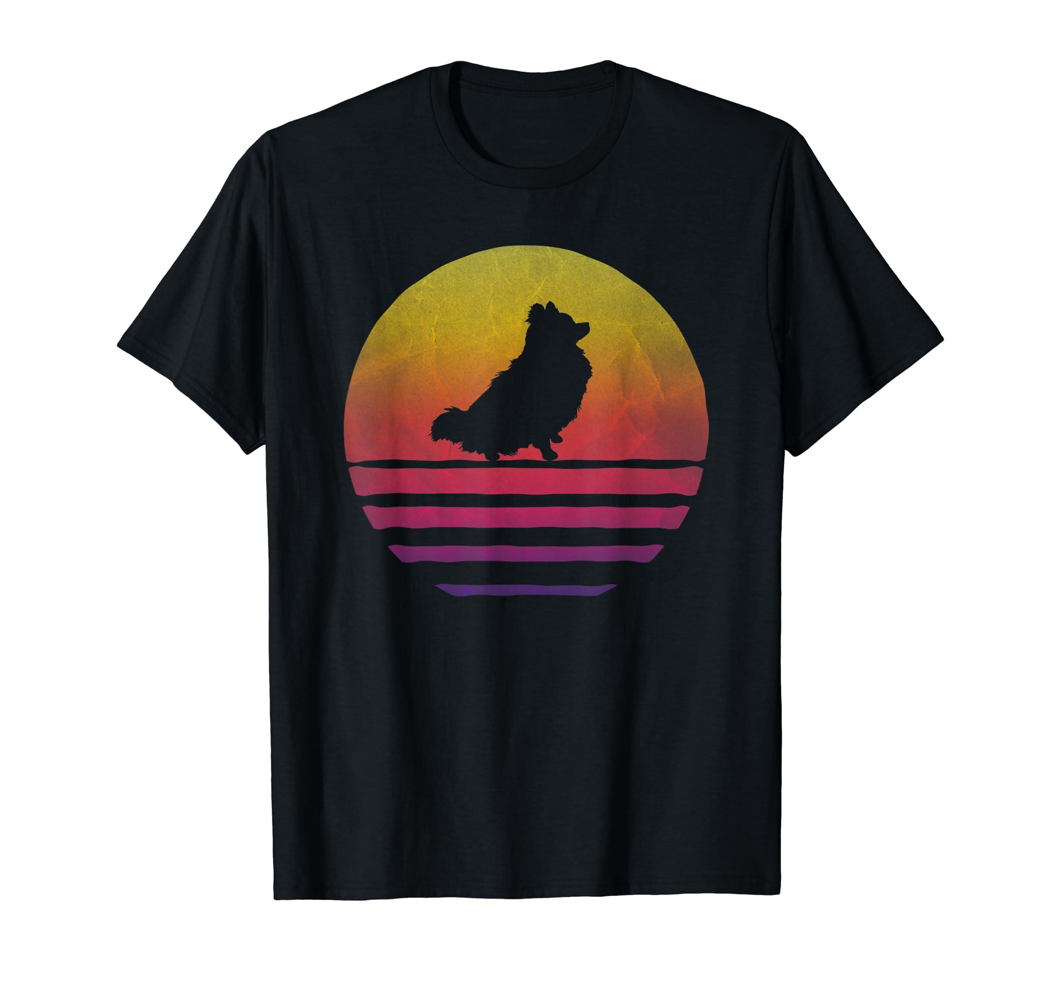 Retro Vintage Sunset Pomeranian Dog Lover Silhouette Gift T-Shirt-Men's T-Shirt-Black