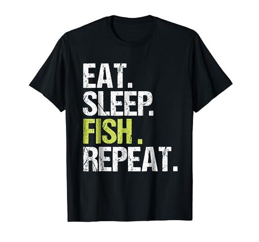 Amazon.com: Eat Sleep Fish Repeat Shirt Fishing Fisherman Christmas ...
