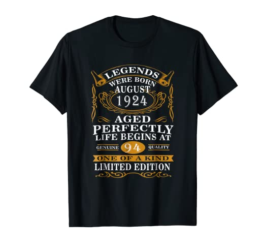 August 1924 94th Birthday Gift 94 Year Old For Men Women