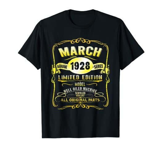 Image Unavailable Not Available For Color March 1928 91st Birthday Gift Of Men Women 91 Year Old Tee