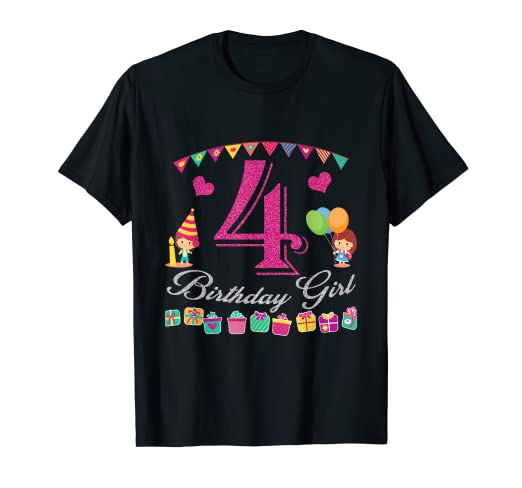599412afe Image Unavailable. Image not available for. Color: 4th Birthday Shirt Girl  - Four Years Old ...