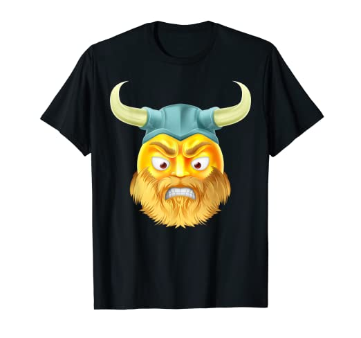 Amazon com: Angry Viking Emoji Face With Beard T-Shirt