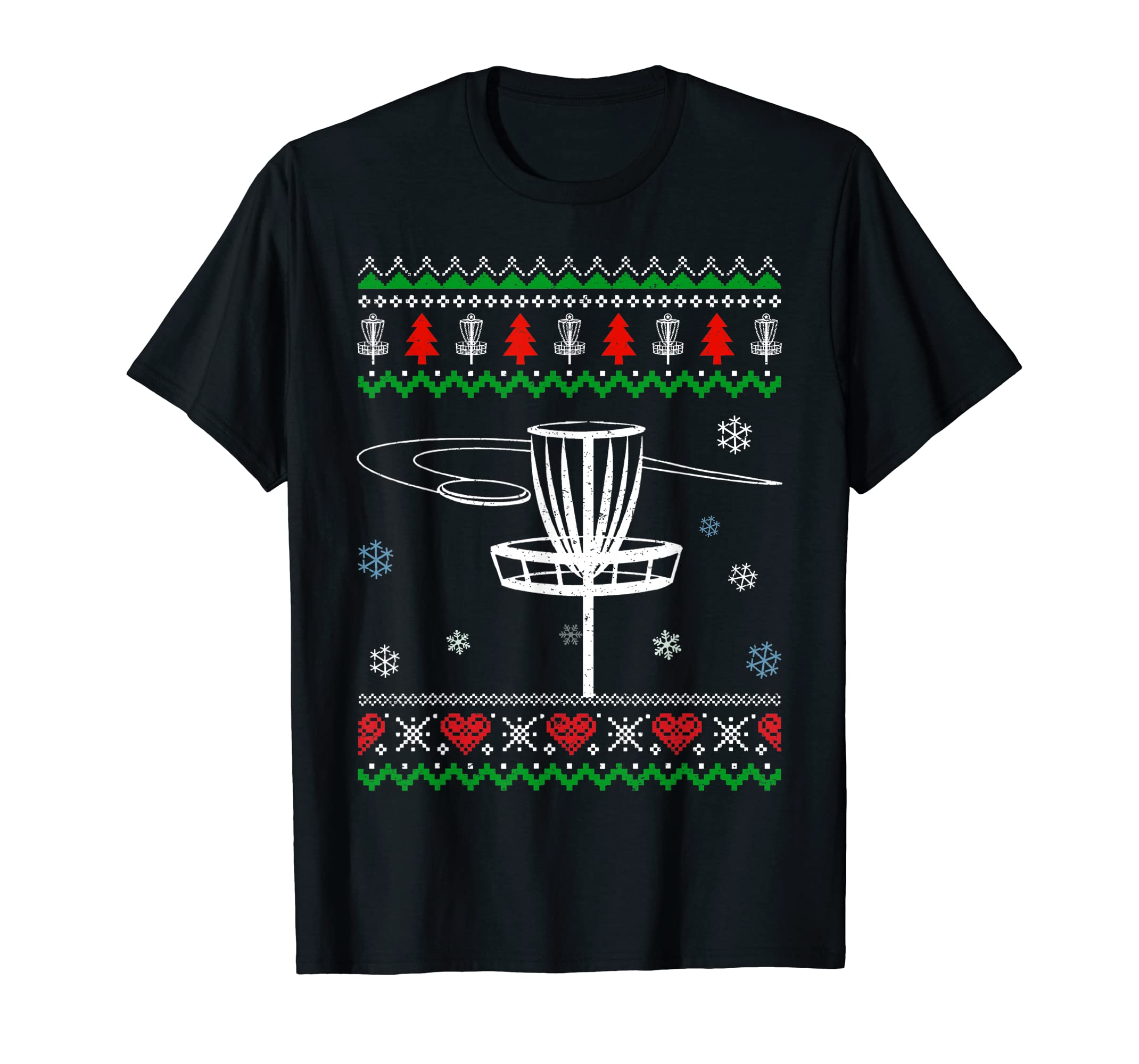 Disc Golf Awesome Ugly Christmas Sweater Xmas Gift T-Shirt-Men's T-Shirt-Black