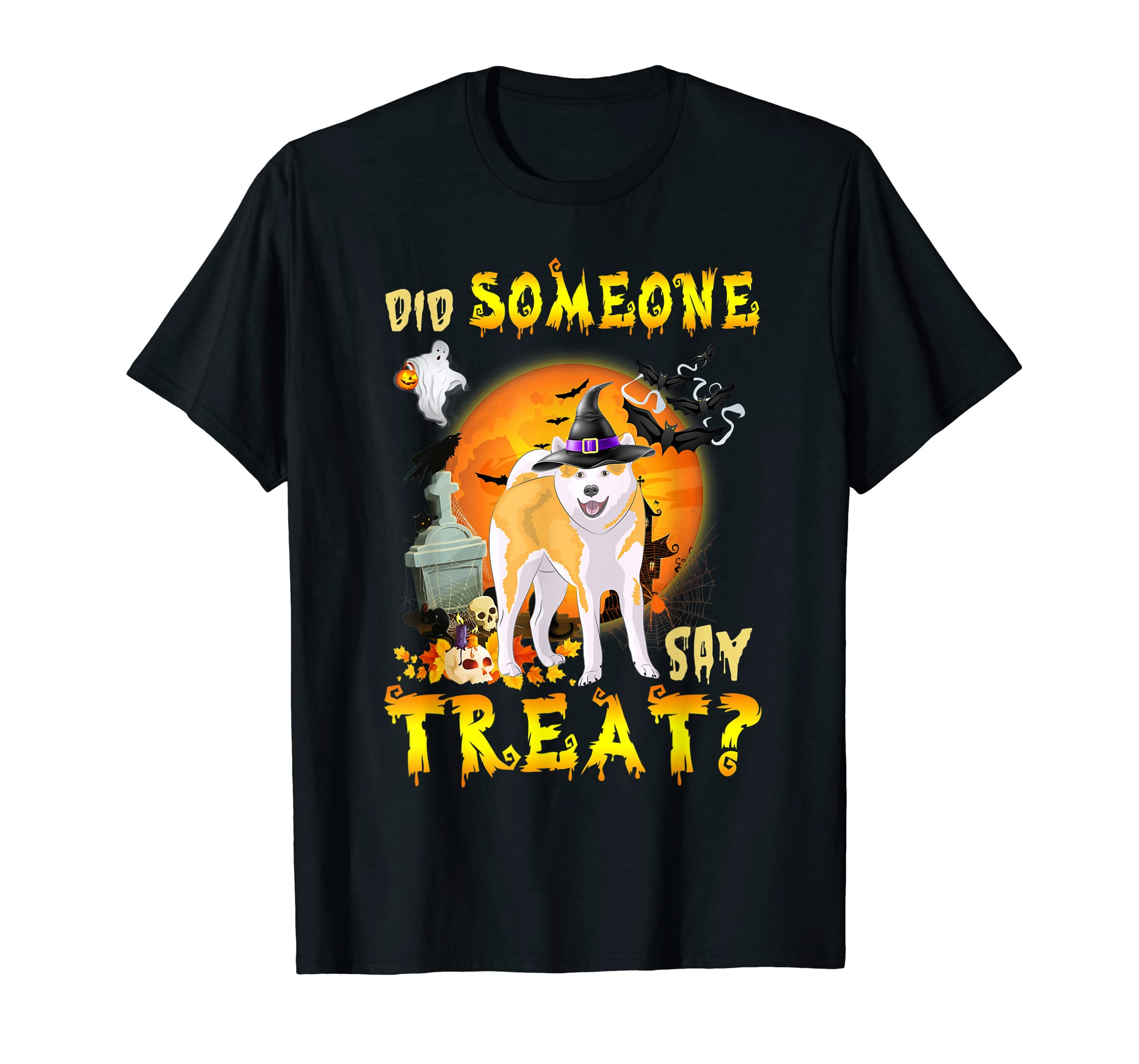 Did Someone Say Treat Akita Inu Halloween Costume Gift T-Shirt-Men's T-Shirt-Black