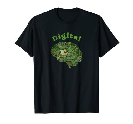 Digital Brain Tee Shirt with computer chip graphic for geeks