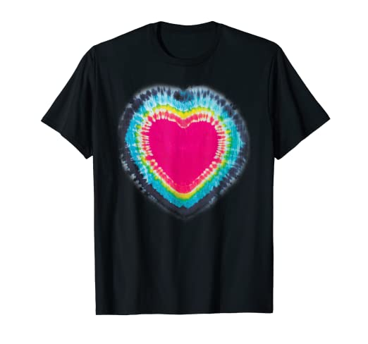 f9b94e9f Image Unavailable. Image not available for. Color: Tie Dye Hot Pink Heart  Cute Rainbow Hippie Graphic T-Shirt
