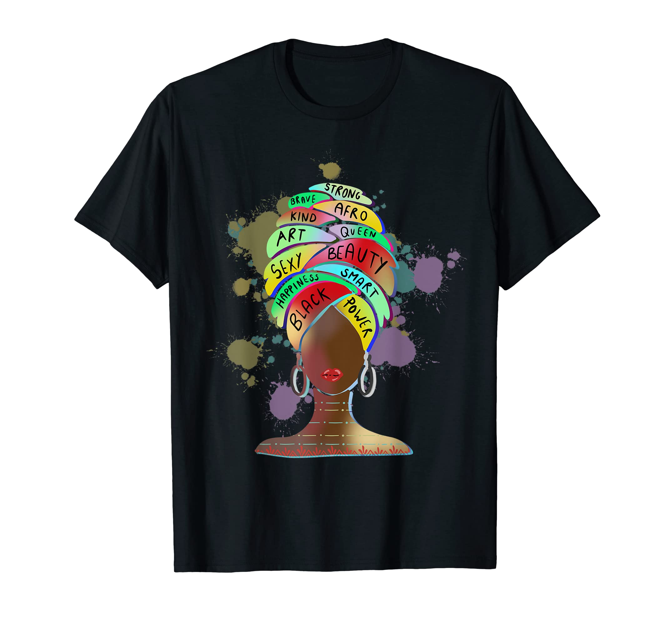 Dashiki Melanin Afro Woman T-Shirt Black Melanin Queen Shirt-SFL