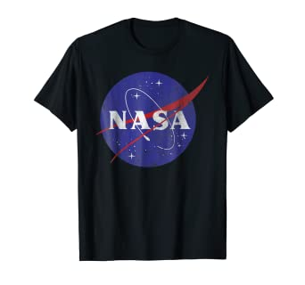 ecb12c958 Image Unavailable. Image not available for. Color: NASA Classic Blue Logo  Distressed Vintage Graphic T-Shirt