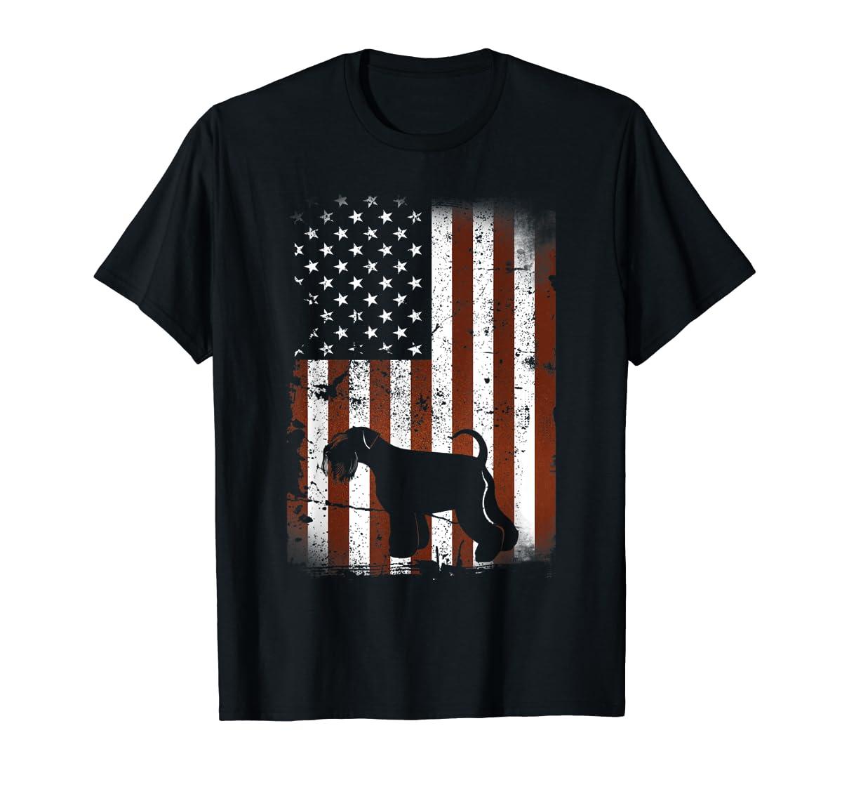 Miniature Schnauzer American Flag Dog 4th Of July T-Shirt-Men's T-Shirt-Black