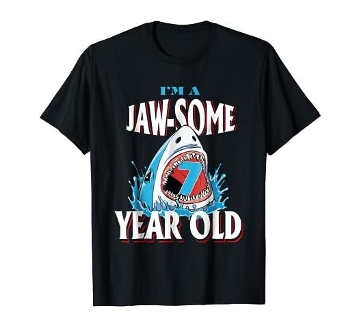 Shark 7th Birthday Shirt Funny 7 Years Old Boy Girl