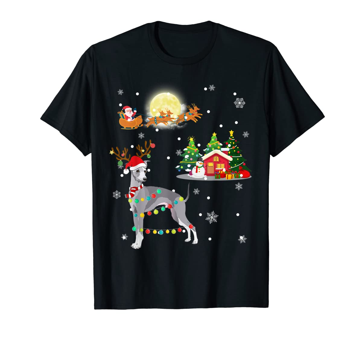 Greyhound Dog Led Light Christmas 2019 Gift T-Shirt-Men's T-Shirt-Black