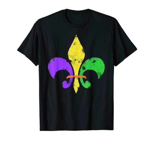 0b3bd35e Distressed Fleur De Lis Shirt Mardi Gras New Orleans Costume