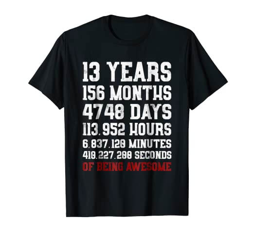 Amazon 13 Years Old Of Being Awesome T Shirt 13th Birthday Tee