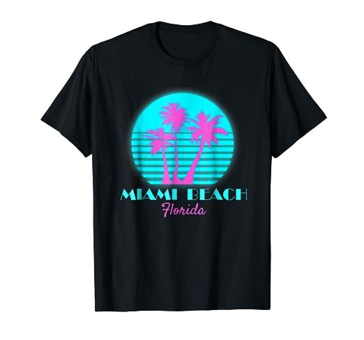 8a5ac4386 Amazon.com: Miami Beach Florida Souvenir T Shirt South Beach Tee ...