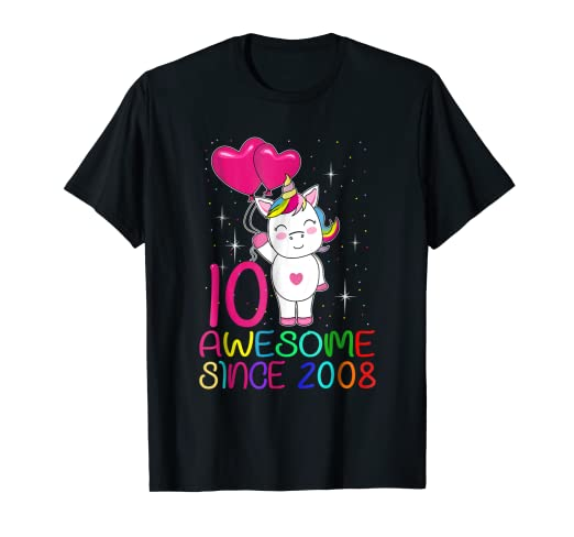 10 Years Old 10th Birthday Unicorn Shirt Girl Daughter Gift