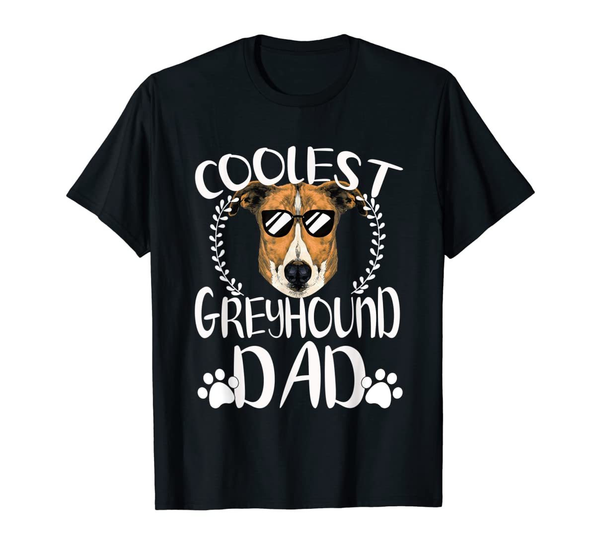Glasses Coolest Greyhound Dog Dad T-Shirt Father's Day Gifts-Men's T-Shirt-Black