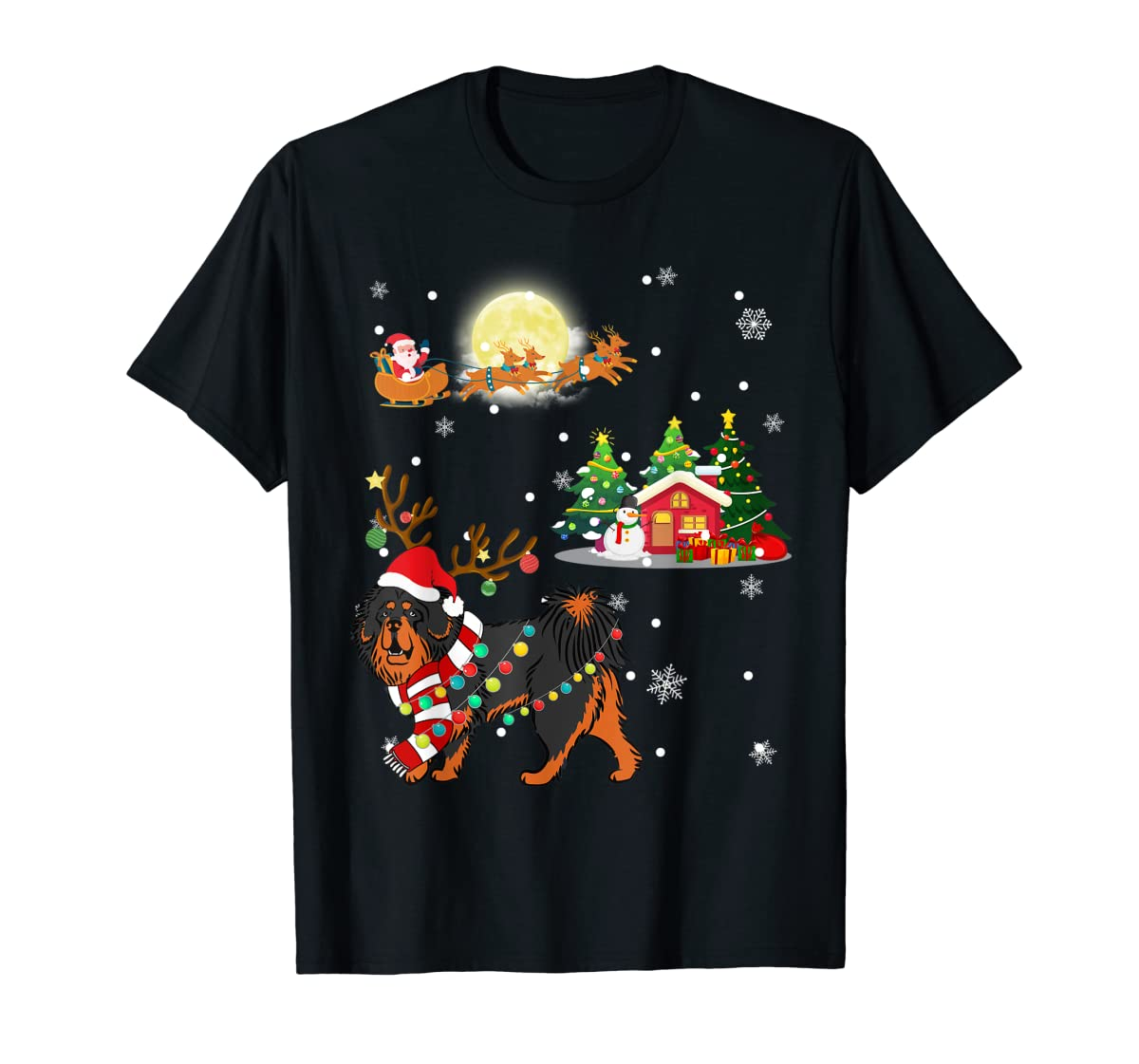 Tibetan Mastiff Dog Led Light Christmas 2019 Gift T-Shirt-Men's T-Shirt-Black
