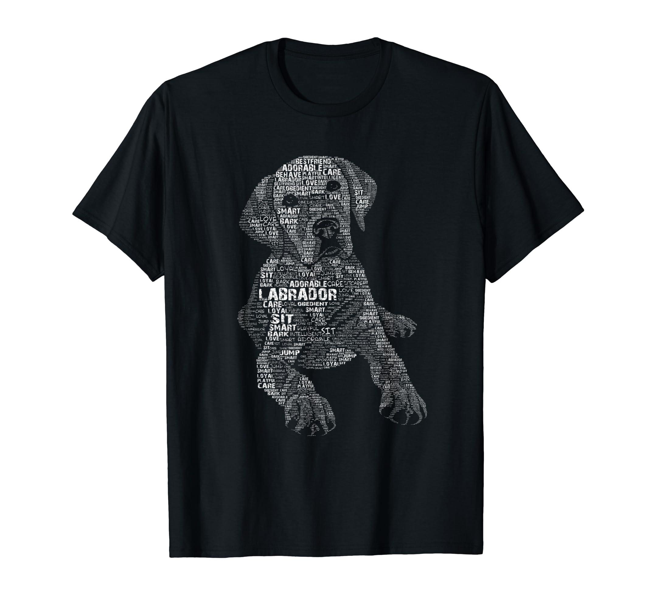 Yellow Chocolate Black Labrador Retriever - Caligram T Shirt-Men's T-Shirt-Black