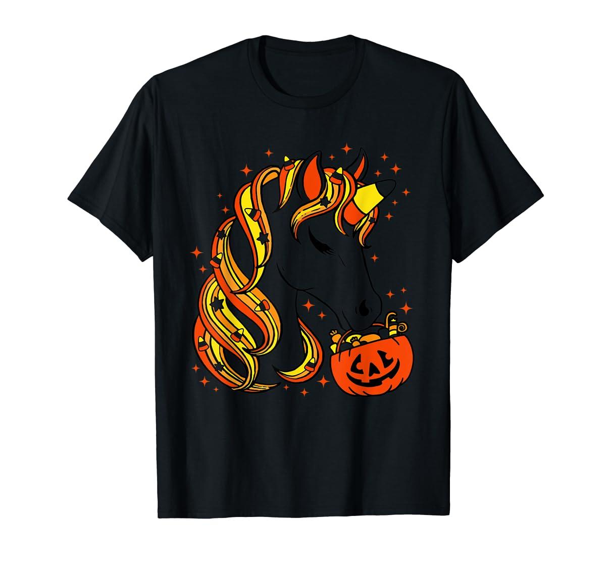 Cute Candy Corn Unicorn Halloween Top T-Shirt-Men's T-Shirt-Black
