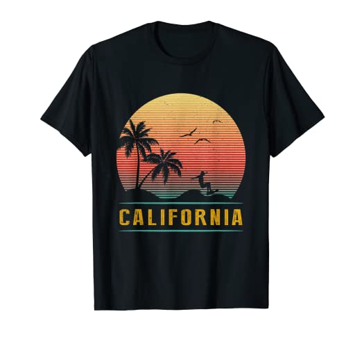 88d1dccf9 Image Unavailable. Image not available for. Color: California Vintage Retro  T-Shirt - 70s Surf Tee