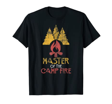 8616dbd594a2 Image Unavailable. Image not available for. Color  Master of Campfire  Distressed Vintage Happy Camper T-Shirt