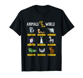 8d6c7f6c Image Unavailable. Image not available for. Color: Animals Of The World T-Shirt  Funny Animal Real Names shirt