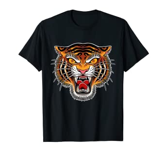 Amazon Com Tiger Head Tattoo Graphic T Shirt By Seven Relics Clothing