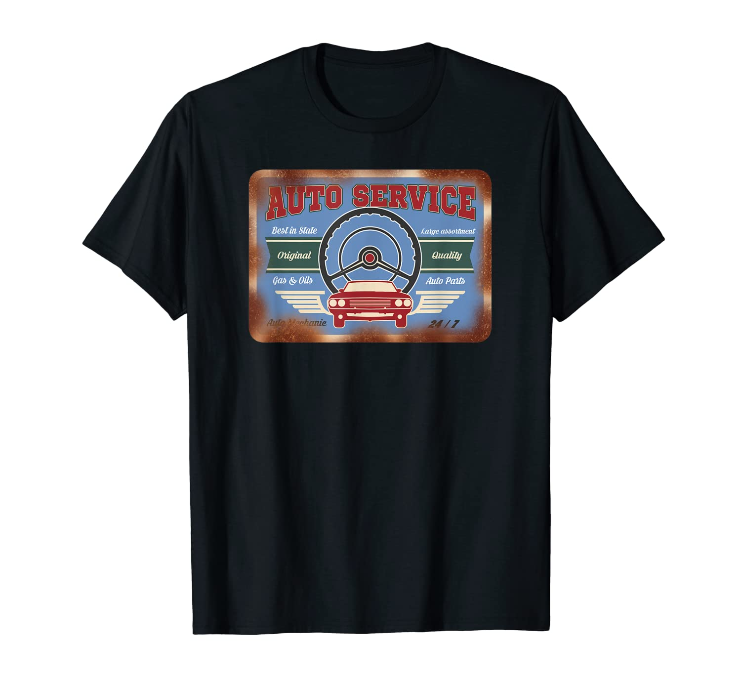 Auto Service Old Stuff Rusty Sign T Shirt Gift For Pickers