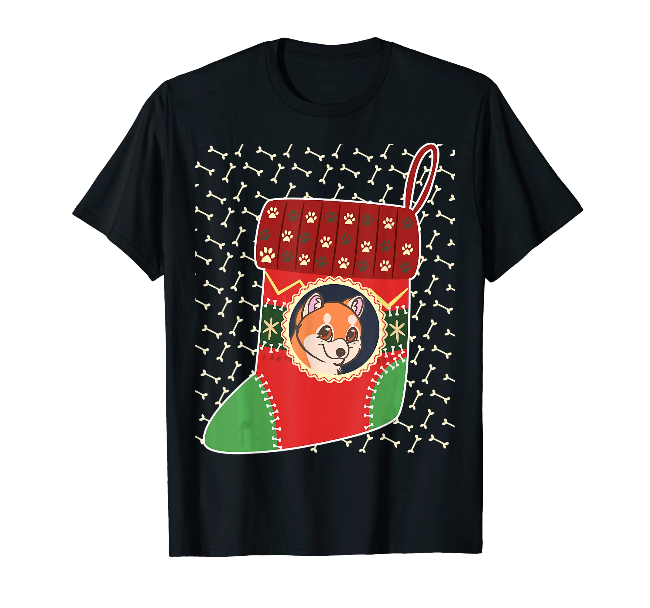 Akita Christmas Stocking Merry Xmas Winter Holiday T-Shirt-Men's T-Shirt-Black