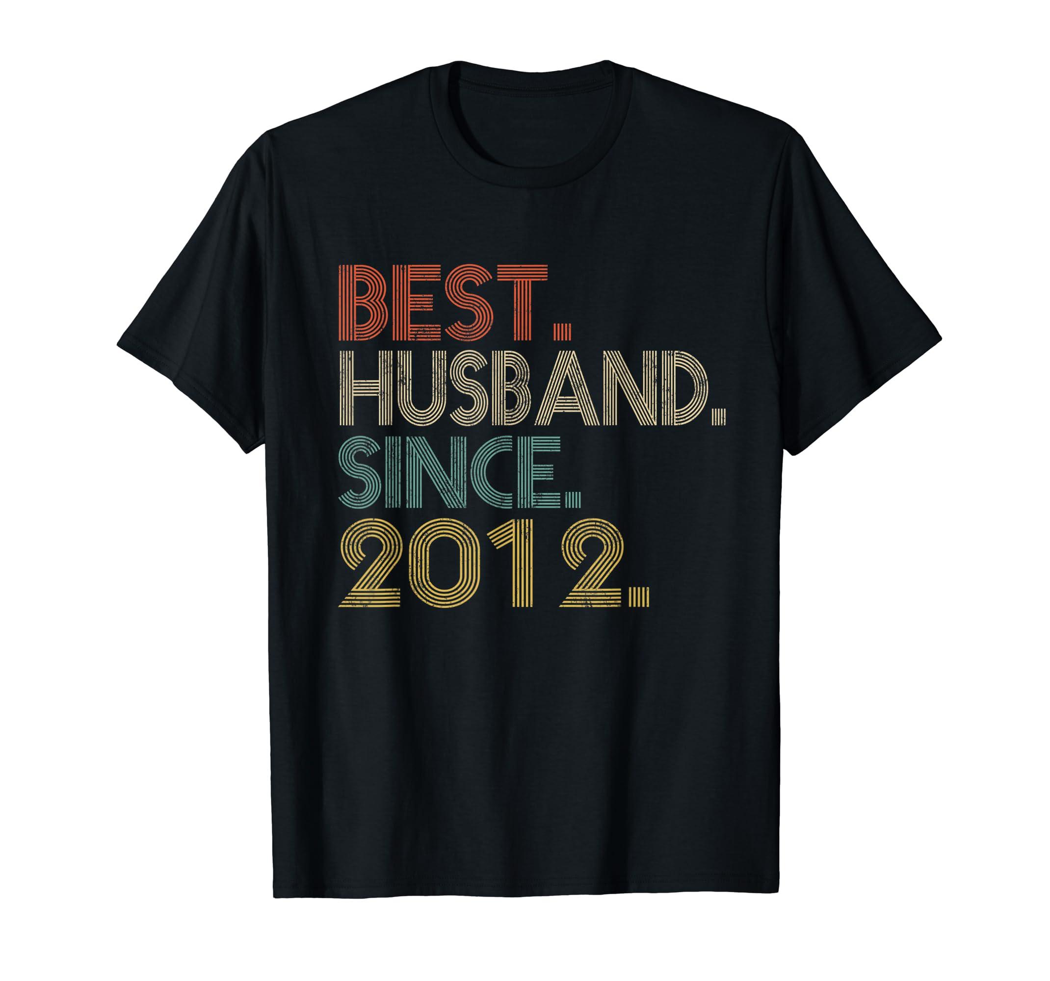 Mens 7th Wedding Anniversary Gifts Best Husband Since 2012-Men's T-Shirt-Black