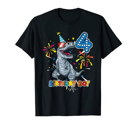 Its My 4TH Birthday Shirt Dinosaur Party For 4 Year Old BOY