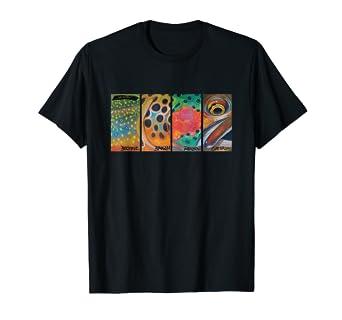 3f888c50ac73d Amazon.com  Cutthroat Rainbow Brook Brown Trout T-Shirt Derek ...