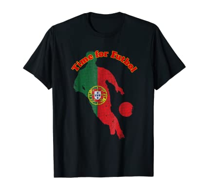 Time for Futbol Portgal Flag Soccer Guy running Tee Shirt