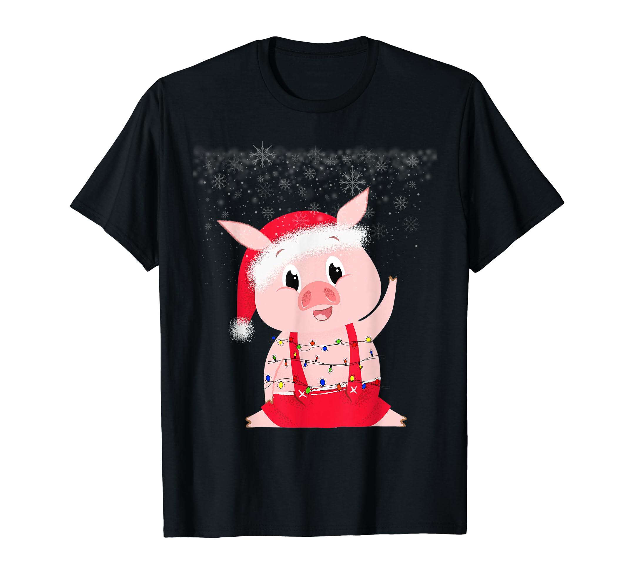 Pig Light with Satan Hat Gift Ugly Xmas Christmas Pajamas T-Shirt-Men's T-Shirt-Black