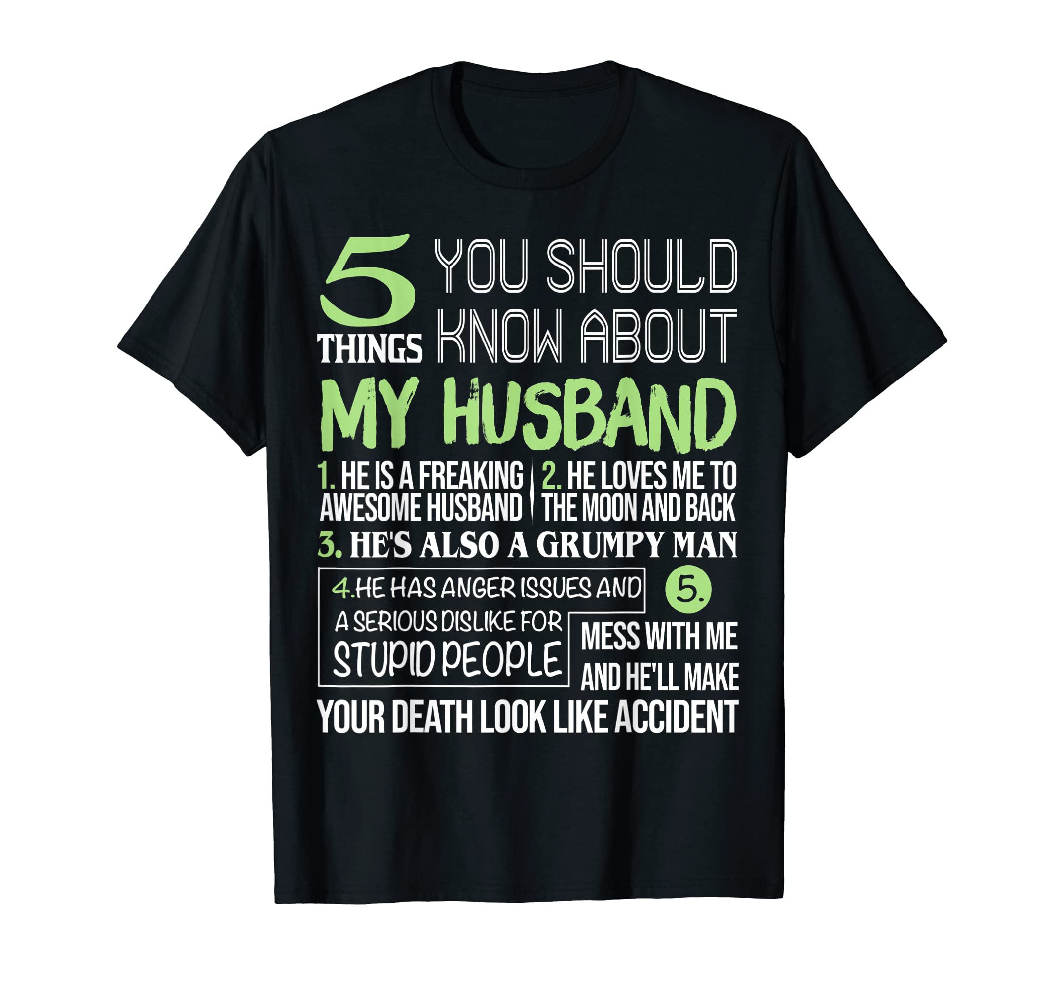 5 Things You Should Know About My Awesome Husband Tee Shirt-Men's T-Shirt-Black