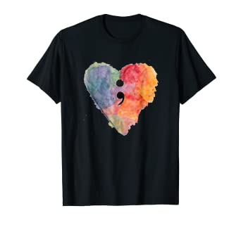 36299fe43260 Image Unavailable. Image not available for. Color  Semicolon Project Mental  Health Awareness T Shirt
